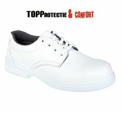 Pantofi de protectie albi cu siret