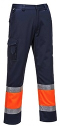 Pantaloni de lucru cu benzi reflectorizante pentru vizibilitate sporita