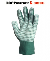 FINAL - Mănuși grădinar din material textil verde,cu picouri PVC