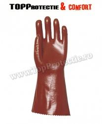 Manusi de protectie chimica PVC rosu inchis, 36 cm