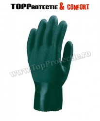 Mănuși de protecție din bumbac imersate dublu în polimer verde, cu o lungime de 27 cm
