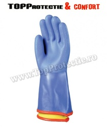 Manusi protectie chimica, frig, rezistente, PVC albastre,antiderapante
