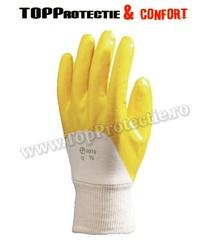 Manusi protectie din bumbac imersat până la osul pumnului în nitril galben