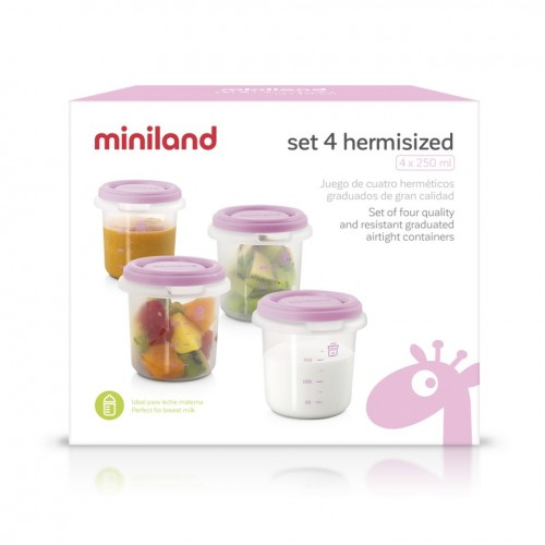 Poze Set 4 Recipiente Plastic 250 ml  Rose Miniland