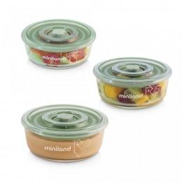 Set 3 recipiente din sticla 300 ml ermetice Chip Miniland