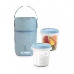 Set 2 Recipiente Plastic 250 ml cu Gentuta izoterma Azure Miniland