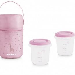 Set 2 Recipiente Plastic 250 ml cu Gentuta izoterma Rose Miniland