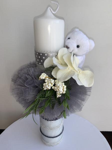 Lumanare botez Grey Teddy