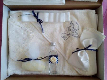 Trusou botez brodat Ingerasul Bleumarin