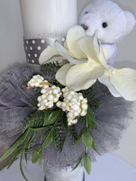 Lumanare botez Grey Teddy