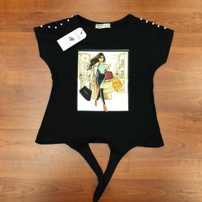 Tricou fete negru Shopping Girl