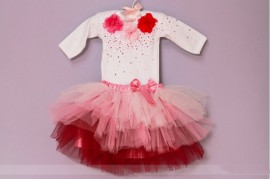 Set body cu maneca lunga si tutu Pink Flowers