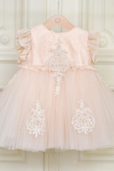 Rochie fete lux Royal Lace cu aplicatii din dantela brodata pretioasa crem