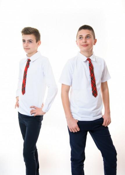 Tricou polo scoala baieti Mihai alb