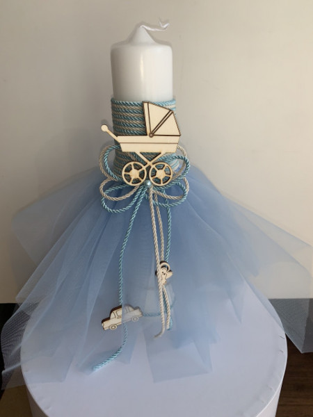 Lumanare botez Baby Blue short
