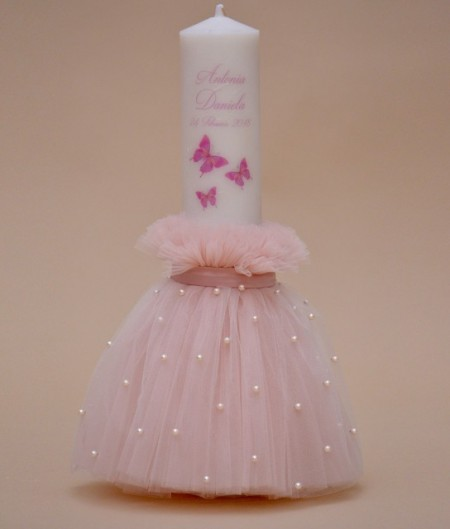 Lumanare de botez personalizata Fluturasi roz