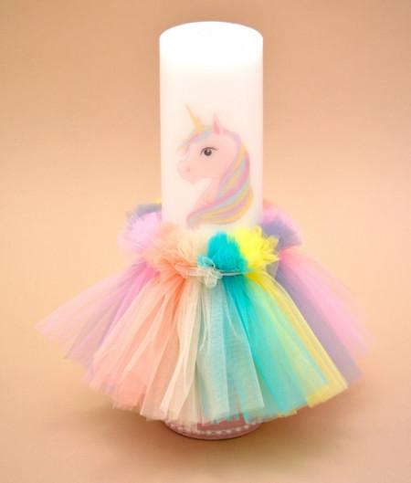 Lumanare de botez unicorn