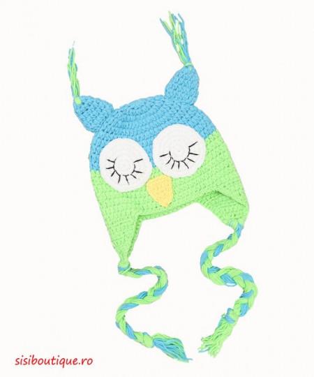 Caciulita tricotata Bufnita verde cu albastru