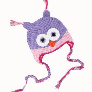 Caciulita tricotata Bufnita mov cu roz