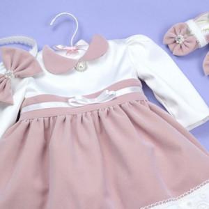 Set botez roz pudra 'Charlotte in Velvet Pink'