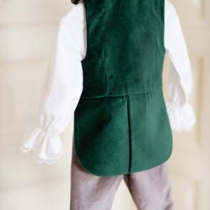 Costum botez baieti Velvet Green
