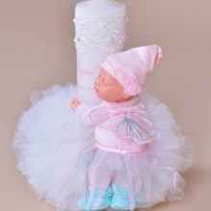 Lumanare botez personalizata bebelus jucarie