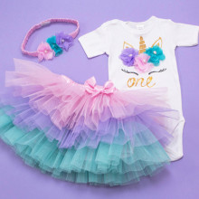 Set body si tutu personalizat Pastel Unicorn