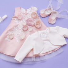 Set botez 4 piese Nude Blooming Roses
