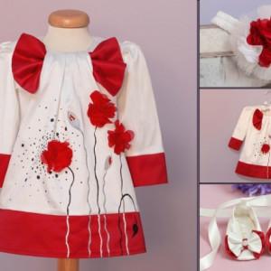 rochii botez alb cu rosu