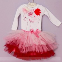 Set body si tutu Happy Pink Flowers