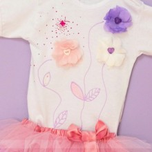 Set body si tutu Purple Flowers