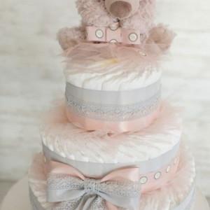 Tort scutece mare Pinky Bear Premium