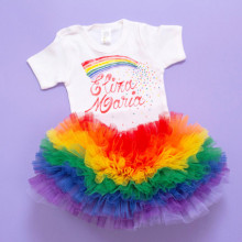 Set body si tutu personalizat Rainbow Love