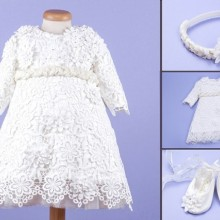 Set botez 3 piese Lace and Flowers