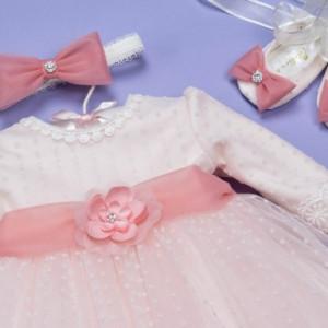 Set botez 3 piese roz pudra 'Blush Delight'