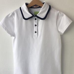 Tricou scoala alb cu bleumarin fete Julia