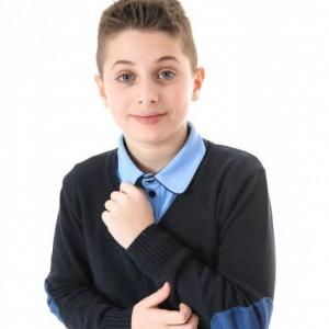 Tricou scoala albastru baieti Marian