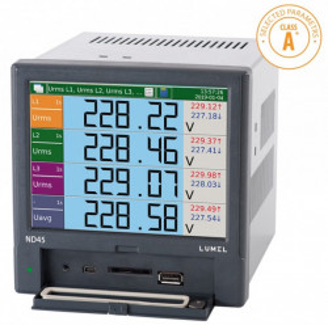 Analizor retea electrica LUMEL ND45, masurare parametri retele trifazate, slot card de memorie, MODBUS, RS485, 8 iesiri in releu