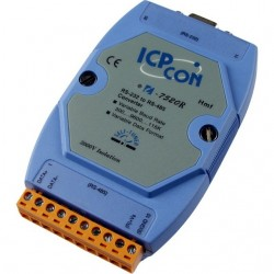 Convertor serial industrial, ICPDAS I-7520R CR bidirectional: RS232↔RS485 cu izolatie optica de 3 KV la RS485