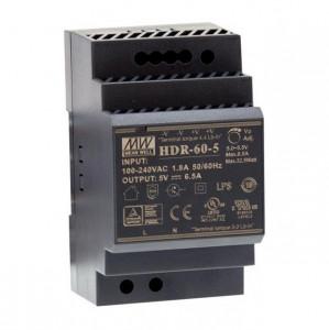Sursa de alimentare MEAN WELL HDR-60-5, iesire 5V, 6.5A, 32.5W, montaj pe sina DIN