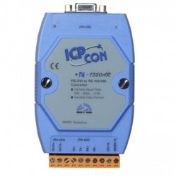 Convertor serial industrial, ICPDAS I-7520AR CR, bidirectional: RS232↔RS422/RS485 cu izolatie optica de 3 KV la partea RS485