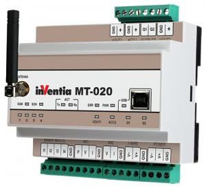Modul I/O INVENTIA MT-020, 4DI/2DO releu/1AI PT100/1AI NTC10K, GSM, logger, custom API
