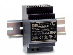 Sursa de alimentare MEAN WELL HDR-60-24, iesire 24V, 2.5A, 60W, montaj pe sina DIN