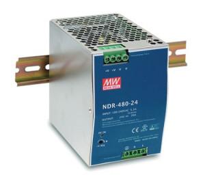 Sursa de alimentare MEAN WELL NDR-480-24, iesire 24V, 20A, 480W, cu montaj pe sina DIN