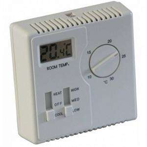 Termostat TEMCO CONTROLS TSTAT4, control ventilator racire/incalzire, afisaj LCD, alimentare 250VAC