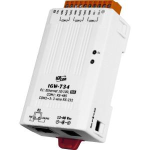 Convertor de protocol industrial ICPDAS TGW-734, Ethernet, RS-232, RS-485, conversie Modbus TCP - RTU