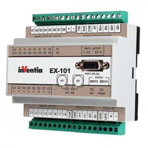 Modul de extensie I/O INVENTIA EX-101, MODBUS RTU, intrari binare si analogice, RS232/422/485