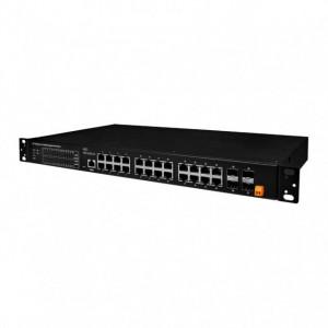 Switch Ethernet industrial ICPDAS FSM-6228G-DC, 24 porturi Ethernet 10/100/1000Mbps, 4 porturi SFP, alimentare 220V DC