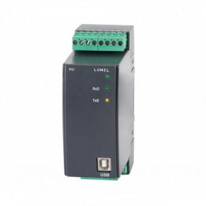 Traductor măsurare parametri rețea electrică monofazată LUMEL P41 100E0, curent intrare 1A sau 5A, ieșire analogică, Modbus RTU, RS485