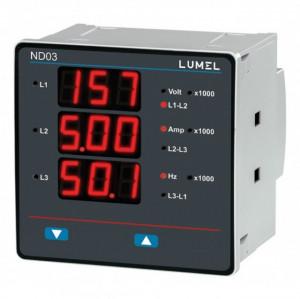 Analizor retea electrica LUMEL ND03, masurare parametri retele monozate si trifazate, iesire in releu, Modbus, interfata RS485